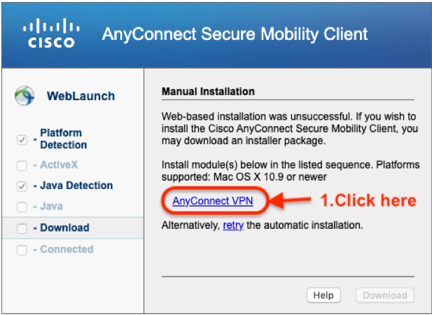 "AnnyConnect Mobility Client window showing link to ""AnyConnect VPN"""