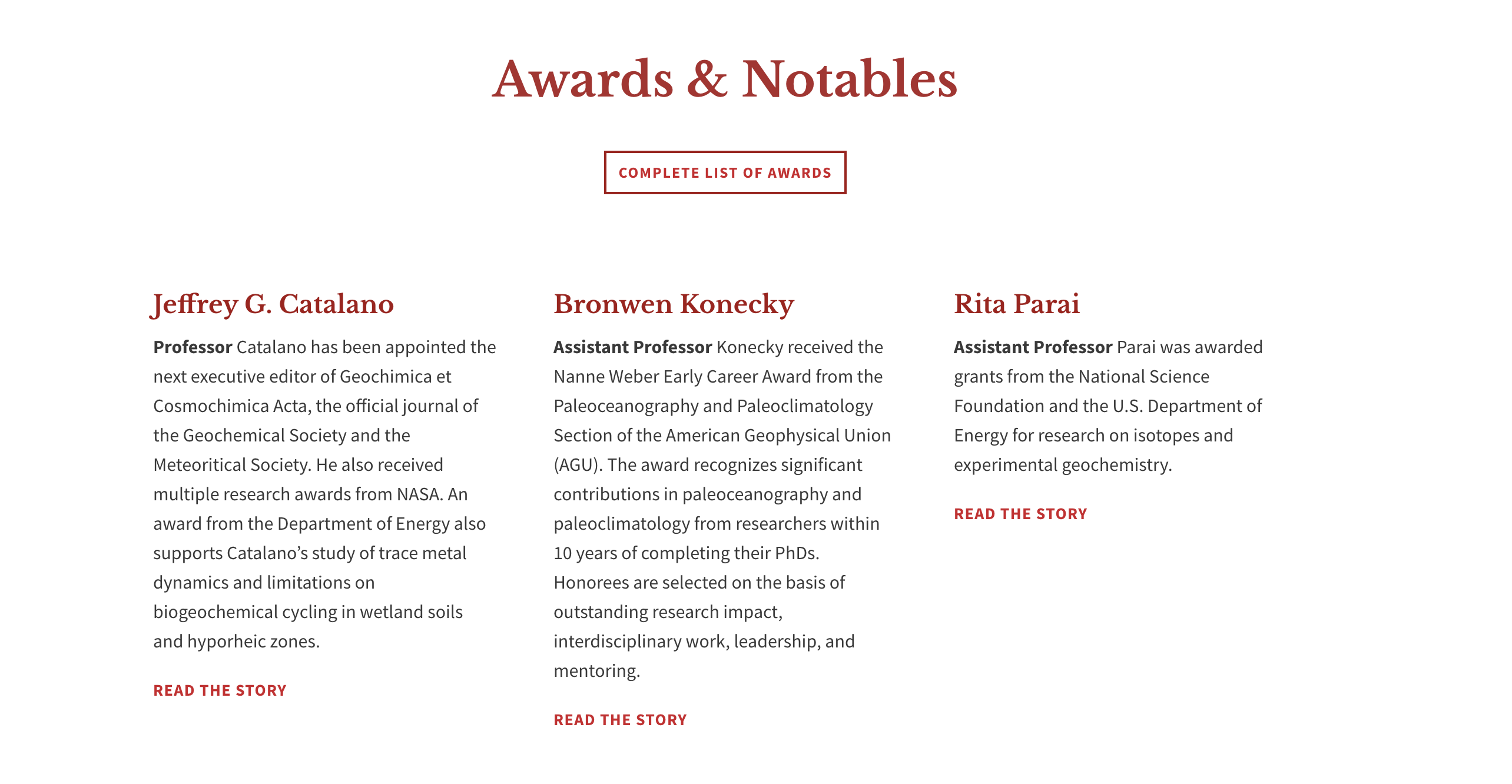 awards section of a publication page
