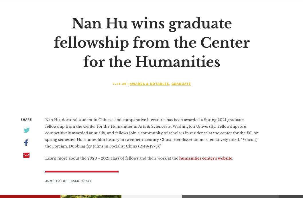 Nan Hu wins graduate fellowship from the Center for the Humanities