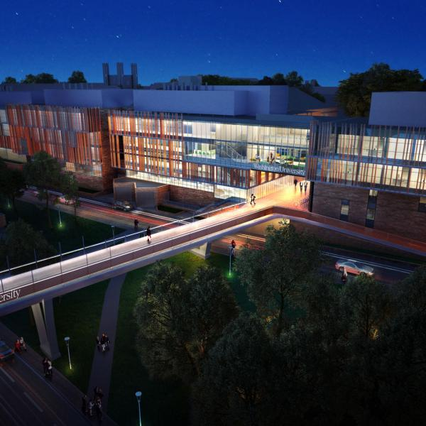 architect's rendering of Bryan Hall lit up at night with glass facade and new foot bridge over Forest Park Parkway