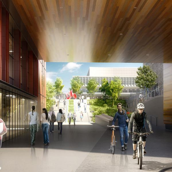 architect's rendering of Exterior of Bryan Hall where footbridge ends at tunnel