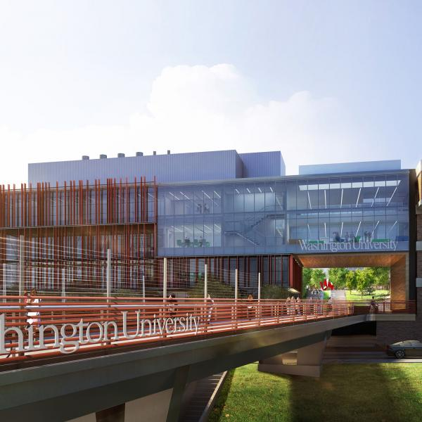 architect's rendering of new foot bridge over Forest Park Parkway with