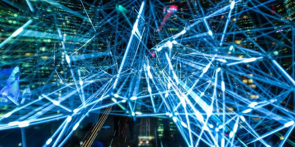 decorative, blue light beams, data illustrative graphic
