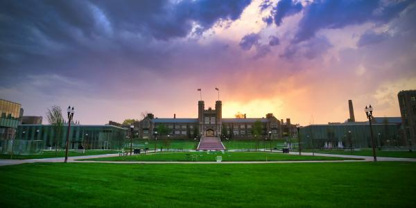 Sunset over the east end of campus and Brookings Hall