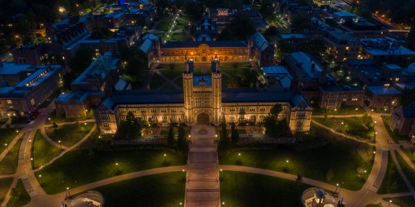 Evening aerial view of Brookings Quad from the east end of campus
