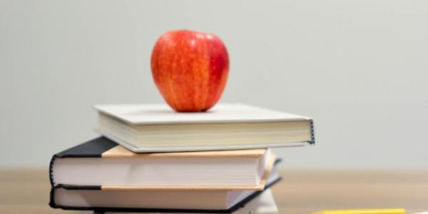 A stack of textbooks with an apple on top